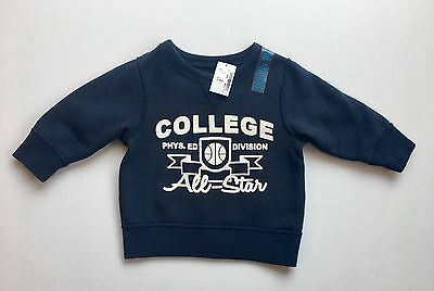 NEW The Children's Place 12M Baby Boys College Print Sweatshirt Pullover Top