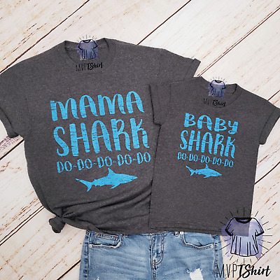MaMa Shark Baby Shark Unisex T Shirt-Shirts with Sayings-Mom and Baby Matching