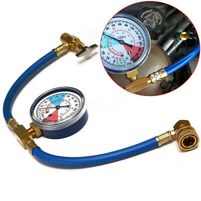 R134A AC Car Air Conditioning Refrigerant Recharge Hose Measuring Kit w/ Can Tap