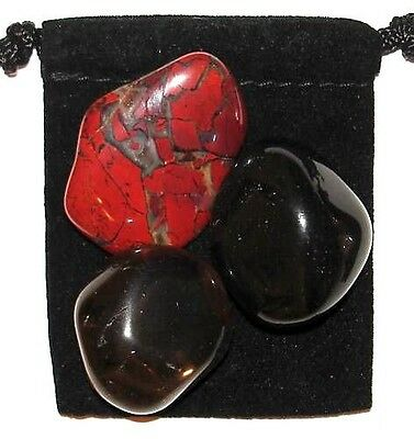 1st ROOT CHAKRA Tumbled Crystal Healing Set = 3 Stones + Pouch + Description