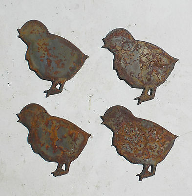 """Lot of 4 Baby Chick Chicken Shapes 3"""" Rusty Metal Vintage Ornament Craft Sign"""