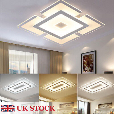 Modern Simple Square Acrylic Led Ceiling Light Living Room Bedroom Home Lamp Uk