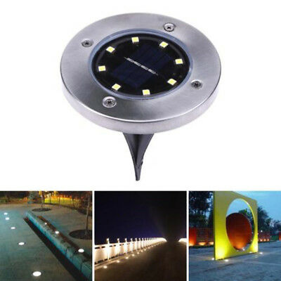 8 LED Solar Powered Light Road Path Driveway Dock Ground Stair Step Lamp 1/8pc