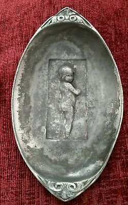 Antique White Metal ? Cherub Dish, No Hallmark ,stamped 309. Maybe Liberty & Co?