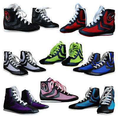 Boxing Boots Shoes Rubber Sole Boots Leather & Mesh Junior & Adults