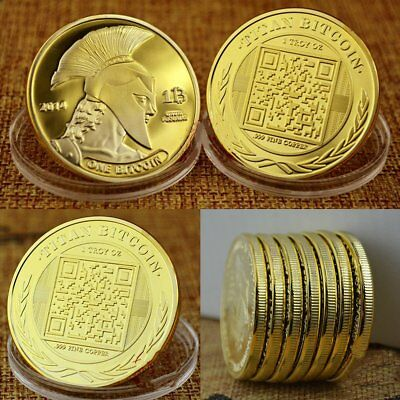 BITCOINS!! Gold Plated .999 fine copper Titan novelty Physical Bitcoin!!
