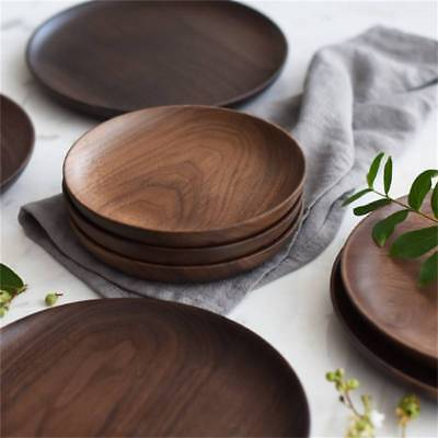 Round Wooden Dessert Fruit Snack Plate Black Walnut Home Meal Dish Tray Home Use