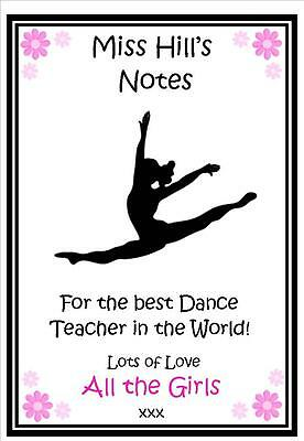 Personalised Dance Ballet Teacher Notepad Notebook -Thank you Gift