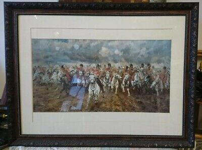 Highlanders The Battle Of Waterloo Scottish Regiments Sealed /& Mounted Print