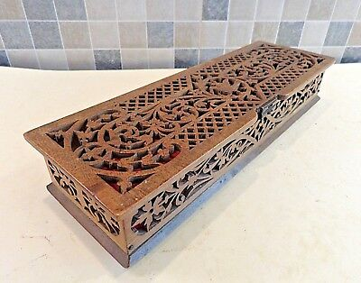 Victorian Carved Wooden Fretwork Glove Box Standing On 4 Tiny Hand Carved Feet