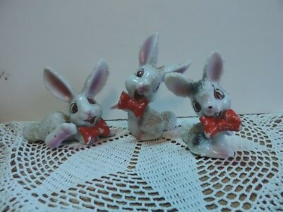 3 Piece Japan Sugar/spaghetti Porcelain Large Ear  Red Bow Tie Rabbits