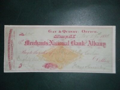 Merchants National Bank of Albany. Nov. 29, 1881. Albany, N.Y. Gay & Quinby