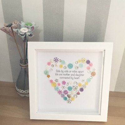 Mother Daughter Button Picture Birthday Gift Framed Mum Quote Present