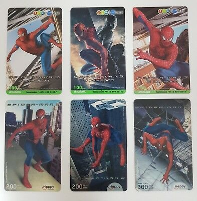 Spider Man Collector' Card Used Top Up Phone Card X 6