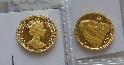 1992 Pair of Gibralter 1/25th Royal Cocker Spaniel Gold Coins