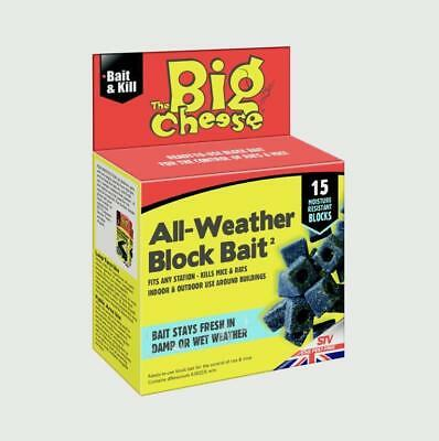 STV212 Big Cheese 15 All Weather Blocks Poison Block Bait Rat Mouse Mice Rodent
