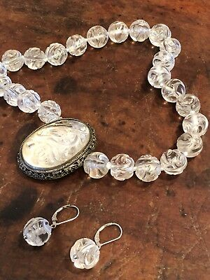 Vintage Antique Chinese Carved Rock Crystal Bead Necklace-Pendant, Earrings 1940