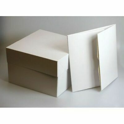 "White Cake Boxes 8"",10"",12,14, 16 inch with Lid & 1, 4, 6, & 12 hole Cupcake box"