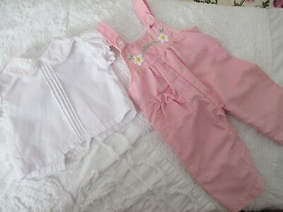 Vintage Baby GIRL Outfit, 2 PIECE 3-6 MONTH, TINY TOTS, PINK OVERALLS BLOUSE EUC