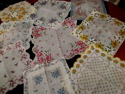 lot of 10 UNUSED Vintage floral hankies, nice and crisp