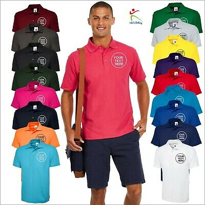 Personalised Custom Embroidered T-Shirt Uneek UC101 Classic Polo Shirt Work Wear