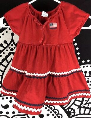 b5a4dd51d88 VINTAGE OSHKOSH RED White Blue 18 Mos Dress American Flag Patriotic ...