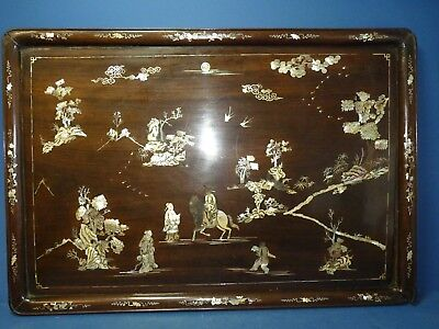 Antique Wooden Tray With  Mother Of Pearl Inlay Oriental Asian