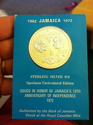 1972 Jamaica 10th Anniversary of Independence Silver Uncirculated $10 Coin