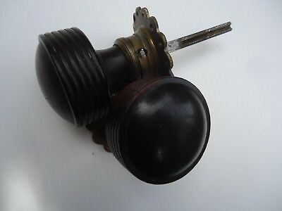 Pair of beehive ebony wood door knob handles, brass collars, original antique