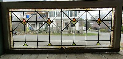Antique Arts And Crafts Stained Glass Transom Window