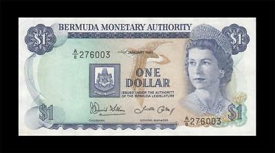 1.1.1986 British Colony Bermuda Qeii $1 (( Ef+ ))