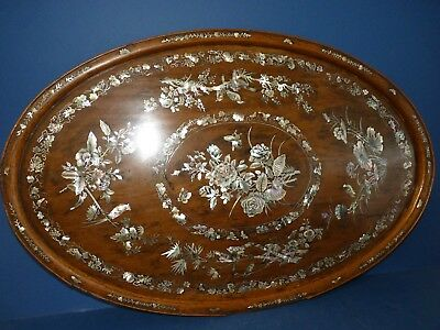 Antique Oriental Wooden Tray Mother Of Pearl Inlay Birds & Flowers Asian