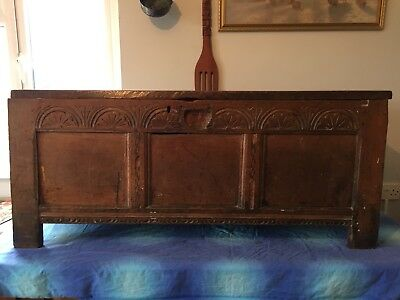 Large Antique Circa 18th Century Carved Oak Coffer Chest.