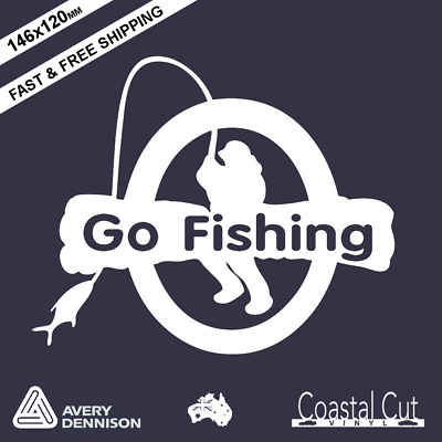 Go Fishing Car Wall Laptop Vinyl Decal Sticker Window Quality Gone Going Fly
