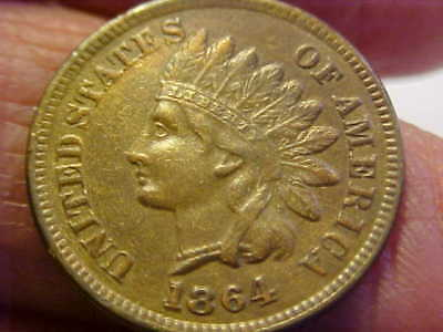 1864 L  Indian Head Cent Key Date Xf - Au  Original Beautiful Rare Coin