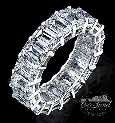 8 ct Emerald Cut Eternity Ring Top CZ Imitation Moissanite Simulant SS Size 6