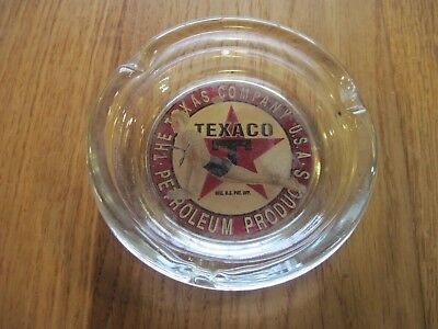 Vtg 1940's Texaco Service Station Promo Giveaway Young Lady Pushup Glass Ashtray