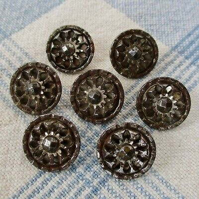 Matched Set of 7 Victorian Metal Buttons w Faceted Cut Steels on Escutcheons