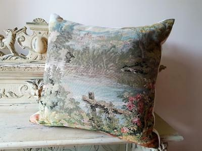 Stunning Vintage French Quality Tapestry Cushion Cover with Cream Velvet Backing