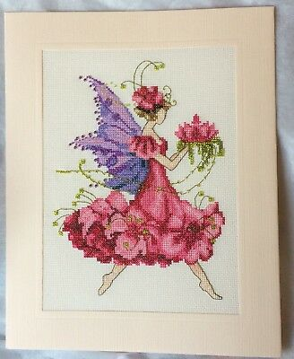 Extra Large Completed Cross Stitch Card - Geranium Pixie