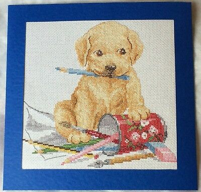 Extra Large Completed Cross Stitch Card - Puppy