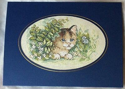 Large Completed Cross Stitch Card - Summer Flowers Basket