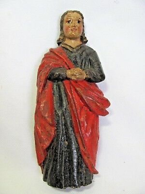 Antique Vintage Hand Carved Wood Figurehead Woman Lady Blue Red