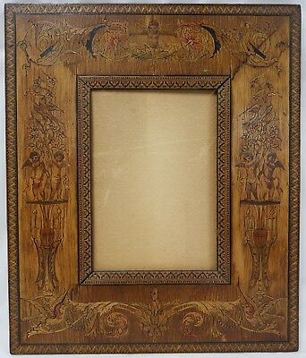 Antique Italian Picture Frame Sorrentoware Tunbridge Finest Marquetry Angels