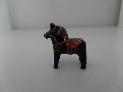 "Vintage Sweden Wood Dala Horse  1 3/16""  Black"