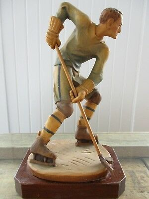 Vintage Rare Anri Hand Carved Wooden Large Hockey Player Figurine 8 3/4""