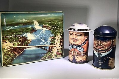 Vintage LITHO TIN Lot RILEYS TOFFEE CAP-TINS ENGLAND ADVERTISING CANDY Daher