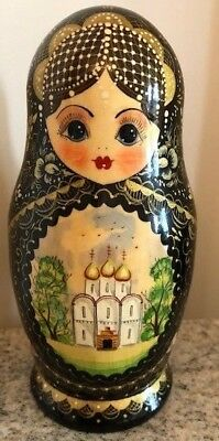 Vintage 1990 Hand Painted Russian Nesting Doll Zagorsk Signed - 8 pcs - CHURCHES