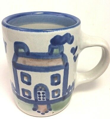 M A Hadley Coffee Cup Mug House Pottery Blue Signed