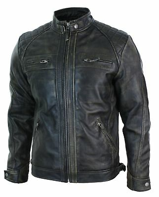 Mens Biker Vintage Motorcycle Distressed Brown Cafe Racer Leather Jacket M27